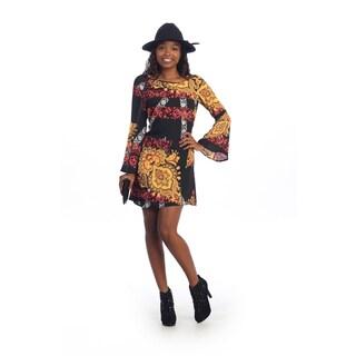 Hadari Women's Black Brocade Print Long-sleeve Dress