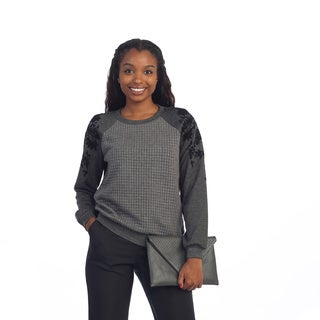Hadari Women's Grey and Black Floral Long Sleeve Sweater