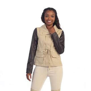 Hadari Women's Beige Cropped Cargo Jacket