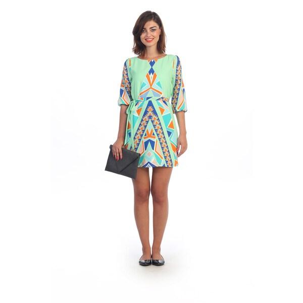 Hadari Women's Geometric 3/4-length Sleeve Shift Dress