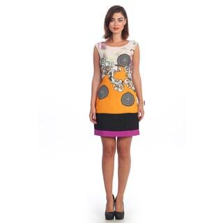 Hadari Women's Floral Colorblock Sleeveless Dress