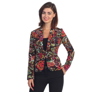 Hadari Women's Multi-colored Floral Single Button Blazer