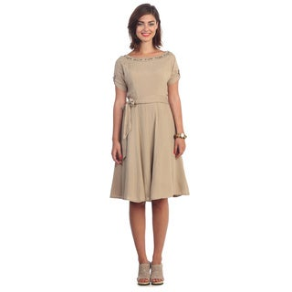 Hadari Women's Contemporary Beige Rhinestone Round Neck Dress