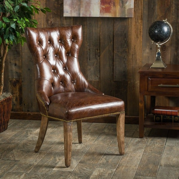 Best Selling Jackie Leather Accent Dining Chair Brown: Christopher Knight Home Wharton Top Grain Leather Dining
