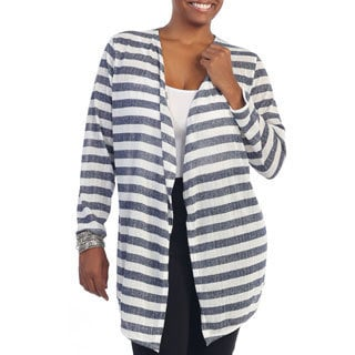 Hadari Women's Plus Size Stripe Long Sleeve Open Cardigan