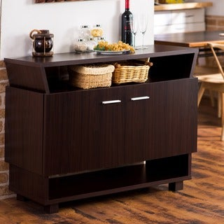 Furniture of America Grassen Angled Walnut Multifunctional Buffet
