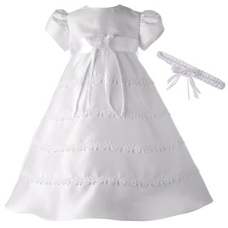 Small World Girls' White Christening Dress