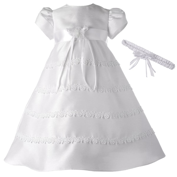 Girls White Long Christening/ Baptism Dress