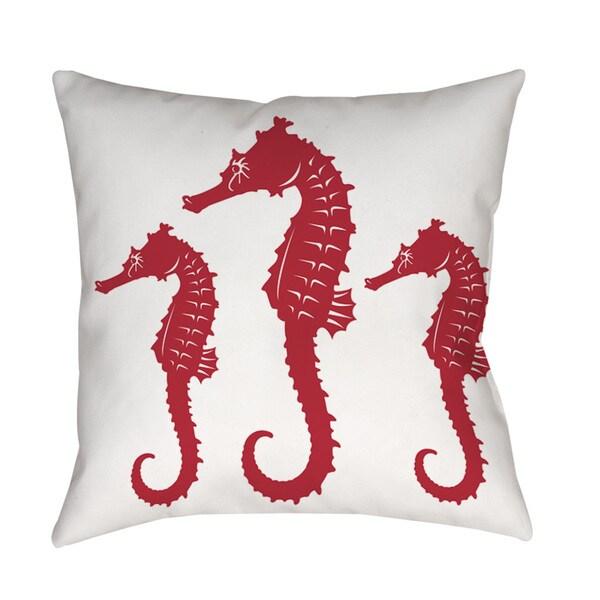 Thumbprintz Nautical Nonsense Red White Seahorses Throw/ Floor Pillow 13739355