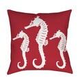 Thumbprintz Nautical Nonsense White Red Seahorses Throw/ Floor Pillow