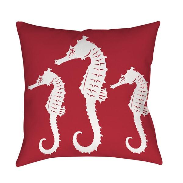 Thumbprintz Nautical Nonsense White Red Seahorses Throw/ Floor Pillow 13739371