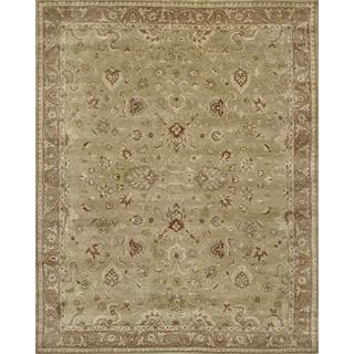 Handmade Persian-style Mashad Green and Brown Wool Rug (8' x 10')