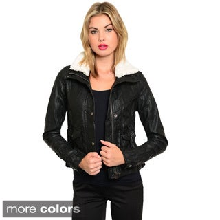 Feellib Women's Faux Leather Bomber Jacket