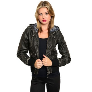 Feellib Women's Black Vintage Faux Leather Jacket