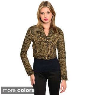Shop The Trends Women's Leopard Printed Crop Jacket