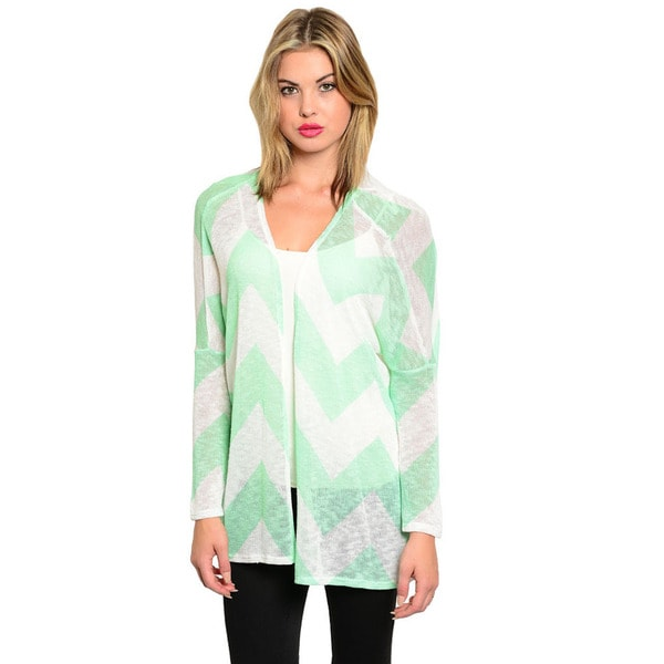 Shop The Trends Women's Chevron Print Lightweight Open Cardigan
