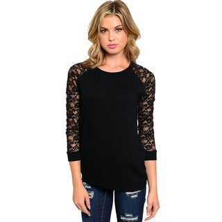 Feellib Women's Black Lace-sleeve Knit Top