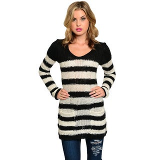 Feellib Women's Black and White Striped Long-hem Sweater