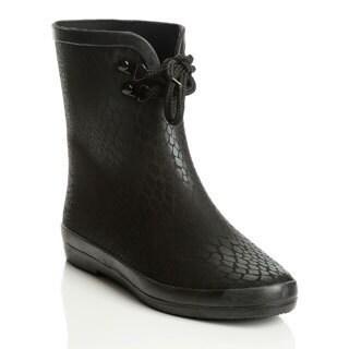 Henry Ferrera Women's Black Croco Pattern Cold-weather Booties