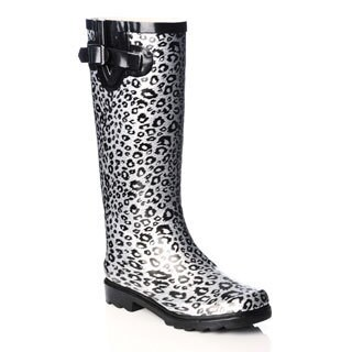 Henry Ferrera Women's Metallic Leopard Print Rubber Rain Boots