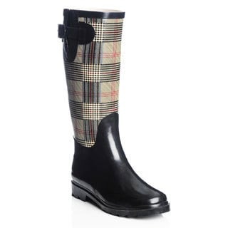 Henry Ferrera Women's Solid and Plaid Printed Rain Boots