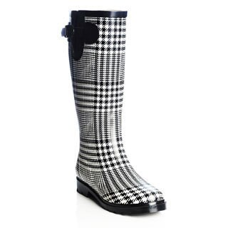 Henry Ferrera Women's Houndstooth Plaid Rubber Rain Boots