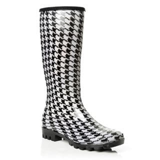 Henry Ferrera Women's Translucent Houndstooth Print Rain Boots