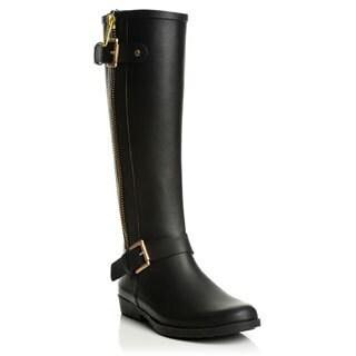 Henry Ferrera Women's Matte Black Rubber Rain Boots
