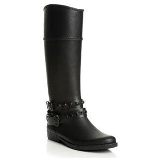 Henry Ferrera Women's Matte Black Motorcycle Rubber Rain Boots