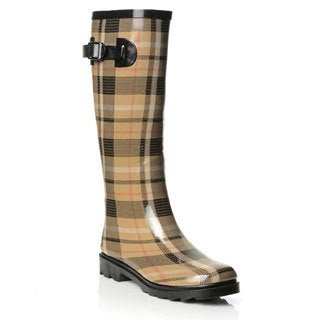 Henry Ferrera Women's Camel Plaid Printed Rubber Rain Boots