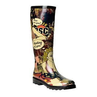 Henry Ferrera Women's Comic Montage Printed Rain Boots