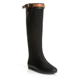 Henry Ferrera Women's Black Equestrian Style Rain Boots
