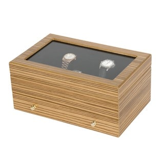 Zebra Wood Watch Holder Case