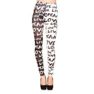 Just One Juniors Peace and Love Seamless Printed Leggings
