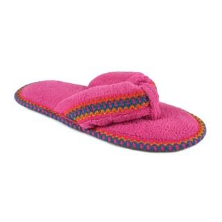 Muk Luks Women's 'Darlene' Pink Micro Chenille Thong Slippers