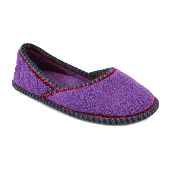 Muk Luks Women's 'Beverly' Lilac Micro Chenille Ballerina Slippers