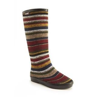 Muk Luks Women's 'Aubrie' Red Stripe Pattern Rain Boots