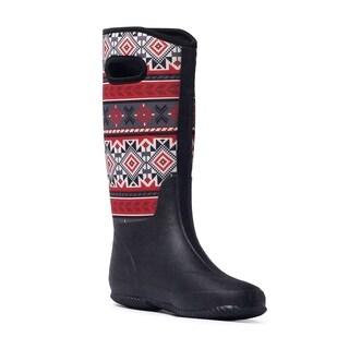Muk Luks Women's 'Karen' Black Tribal Red Pull-on Rain Boots