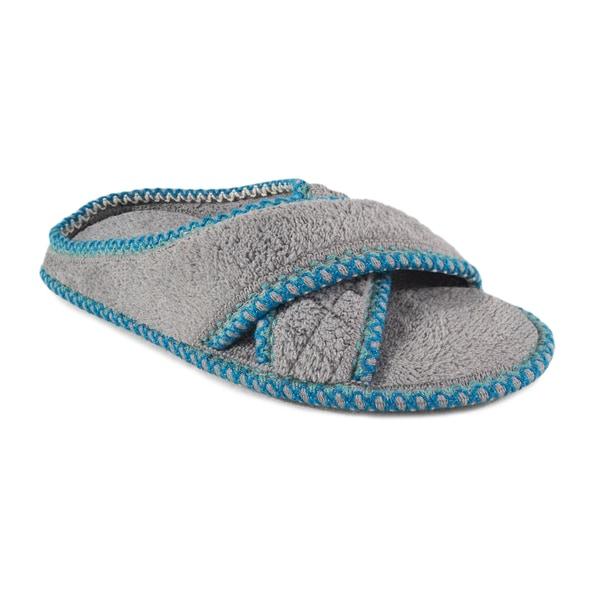 Muk Luks Women's 'Ada' Ash Grey Micro Chenille Criss-cross Slippers