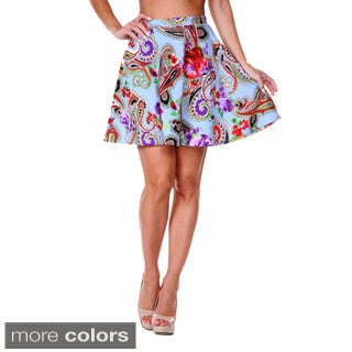 White Mark Women's Paisley Flared Mini Skirt