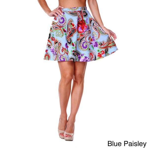 White Mark Women's Paisley Flared Mini Skirt