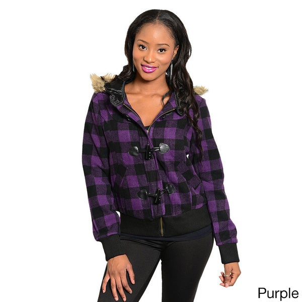 Stanzino Women's Hooded Slim Flannel Jacket