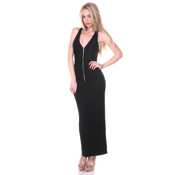 White Mark Women's Black Gathered Back Maxi Dress