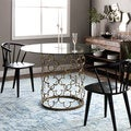 Quatrefoil Brush Gold Dining Table