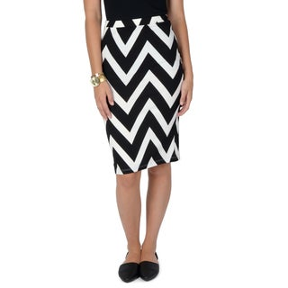 Hailey Jeans Co. Junior's Chevron Print Elastic Waist Pencil Skirt