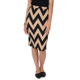 Hailey Jeans Co. Junior's Chevron Print Elastic Waist Pencil Skirt