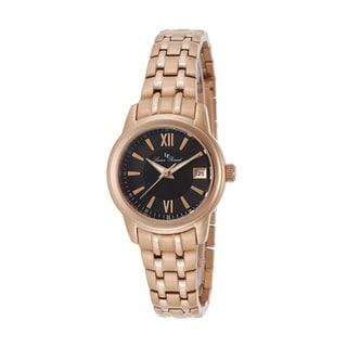 Lucien Piccard Women's 'Laurez' Black Dial Rose Goldtone Stainless Steel Watch