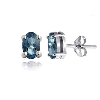 Glitzy Rocks Sterling Silver 1 1/10ct TGW London Blue Topaz Oval Stud Earrings