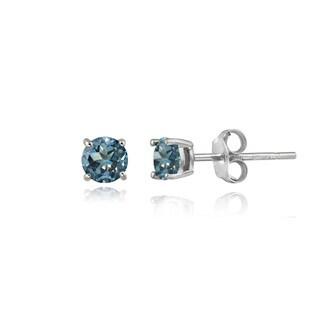 Glitzy Rocks Sterling Silver 3/5ct TGW London Blue Topaz 4mm Round Stud Earrings