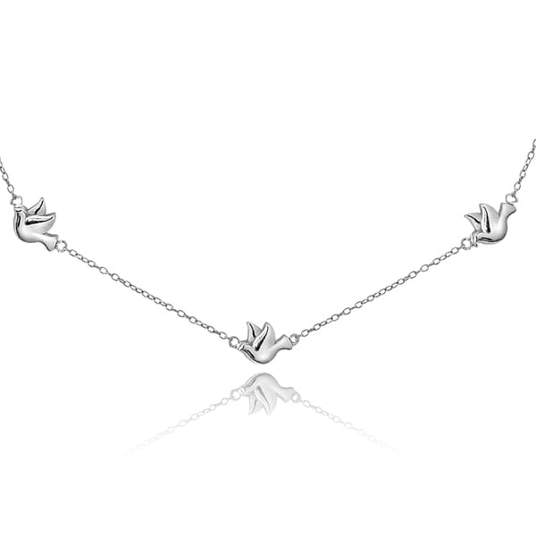 Mondevio Sterling Silver or Gold Over Silver Dove Chain Necklace
